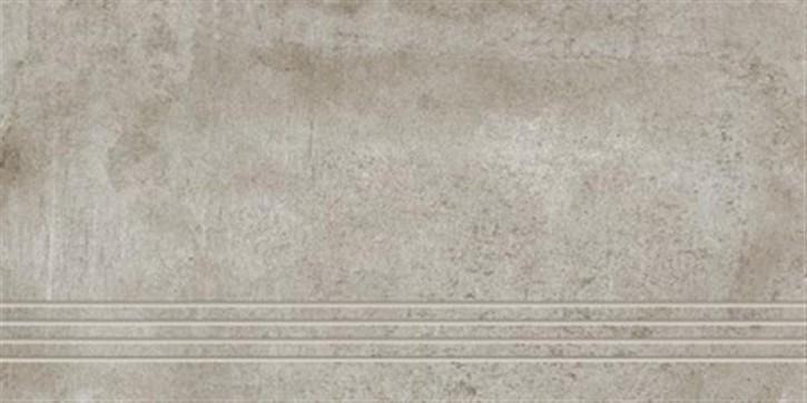 Beton Treppenfliese 30x60cm Zement ungl. R9 rekt.