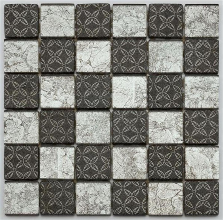 Byzantine Mosaik 30x30cm silber schwarz