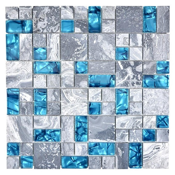 Design Kombination Crystal/Stein mix grau mit blau glzd. 30x
