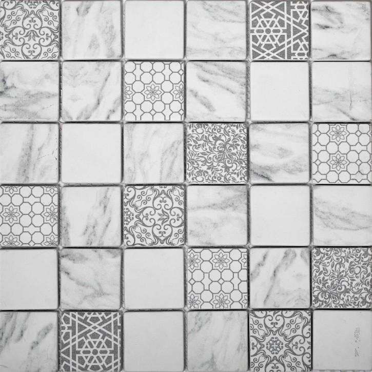 Glass Mosaik 30x30/0,6 ethno weiss-grau