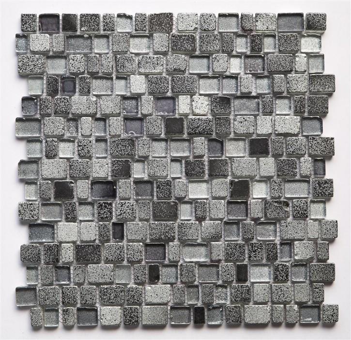 Glass Mosaik Mix 30,9x31,3 silver/grau/anthrazi