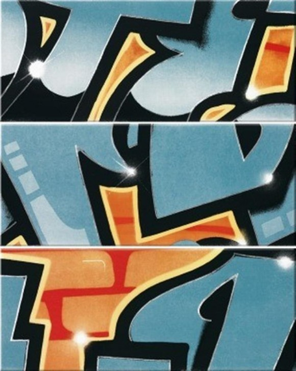Graffiti 3er Set 240x33cm petrol-orange