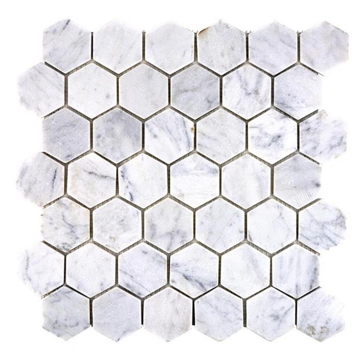 Hainan Hexagon Marmor weiß Carrara matt 30x30cm / 48x48x8