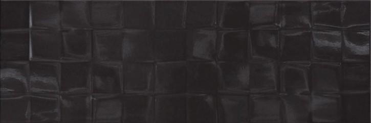 Simple Art Wand 20x60cm schwarz glzd. Structure Cubes