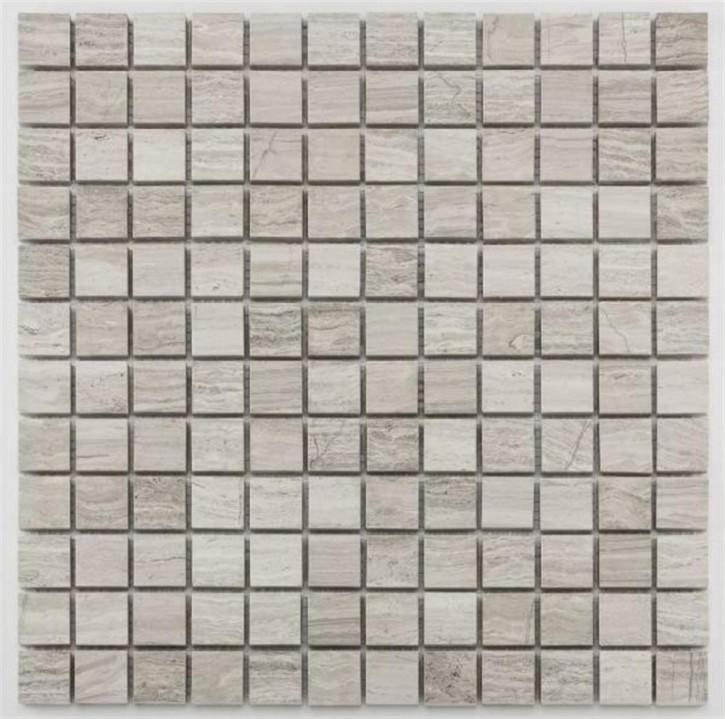 Square Mosaik 30,5x30,5cm wood grain grey pol.