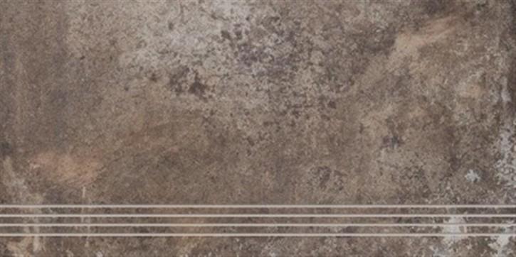 Unikat Treppenfliese 37,5x70cm mud ungl. R10 rekt.