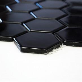 Hexa Hexagon uni schwarz matt 30x30cm / 51x59x5