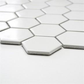 Hexa Hexagon uni weiß glzd. 30x30cm / 51x59x5